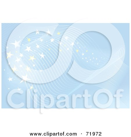 Royalty-Free (RF) Clipart Illustration of a Blue Starry Magical Background With Lined Waves by inkgraphics