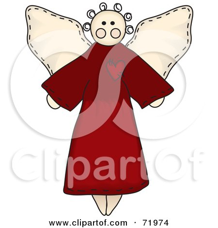 Royalty-Free (RF) Clipart Illustration of a Folk Styled Angel In A Red Gown by inkgraphics