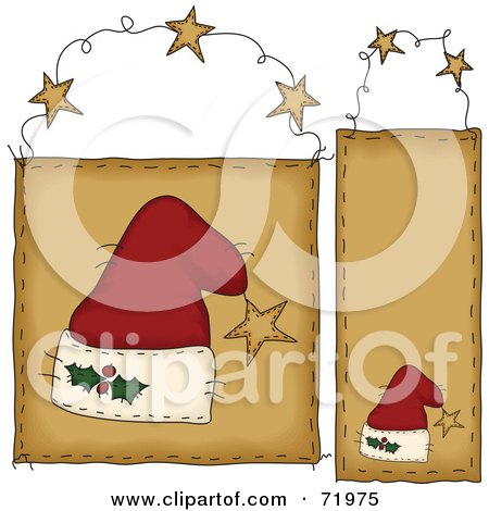 Royalty-Free (RF) Clipart Illustration of a Digital Collage Of Hanging Santa Hat Door Signs by inkgraphics