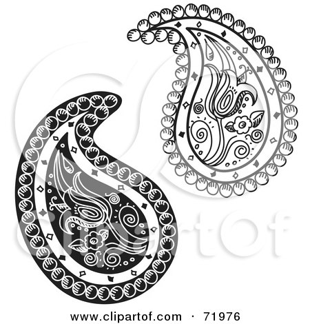 Royalty-Free (RF) Clipart Illustration of a Digital Collage Of Two Black And White Floral Paisley Designs by inkgraphics