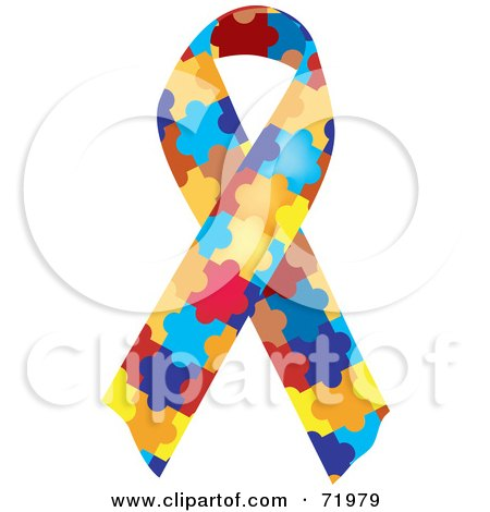 Royalty-Free (RF) Clipart Illustration of a Colorful Jigsaw Puzzle Piece Autism Awareness Ribbon by inkgraphics