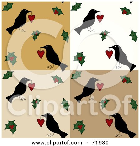 Royalty-Free (RF) Clipart Illustration of a Folk Tiled Background Of Crows With Hearts And Holly by inkgraphics