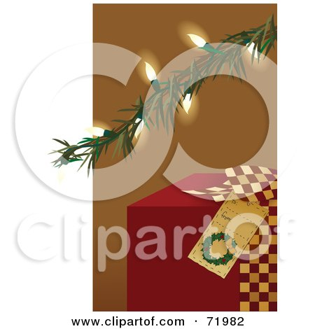 Royalty-Free (RF) Clipart Illustration of a Red Christmas Present Under An Illuminated Tree Branch by inkgraphics