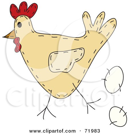 Royalty-Free (RF) Clipart Illustration of a Folk Art Chicken With An Egg by inkgraphics