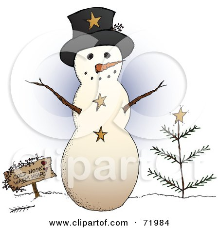 Royalty-Free (RF) Clipart Illustration of a Friendly Snowman With A Sign And Tree by inkgraphics