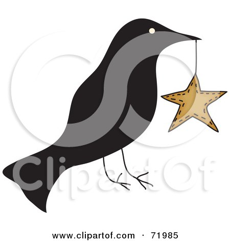 Royalty-Free (RF) Clipart Illustration of a Crow Carrying a Star by inkgraphics