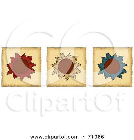 Royalty-Free (RF) Clipart Illustration of a Digital Collage Of Three Folk Art Flower Tiles by inkgraphics