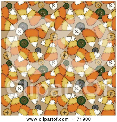 Royalty-Free (RF) Clipart Illustration of a Background Of Candy Corn And Buttons On Brown by inkgraphics