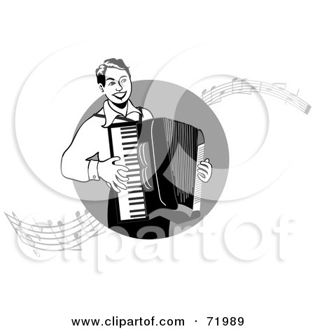 Royalty-Free (RF) Clipart Illustration of a Black And White Man Playing An Accordian With Music Notes by inkgraphics