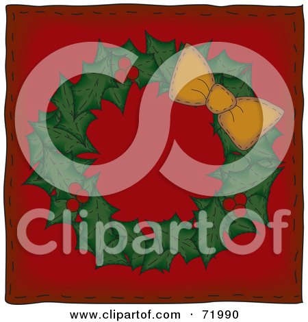 Royalty-Free (RF) Clipart Illustration of a Holly Christmas Wreath With An Orange Bow On Red by inkgraphics