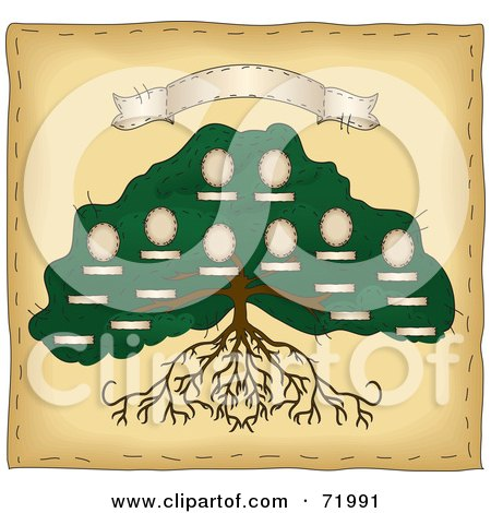 Royalty-Free (RF) Clipart Illustration of a Large Rooted Family Tree With Spaces For Photos And A Blank Banner by inkgraphics
