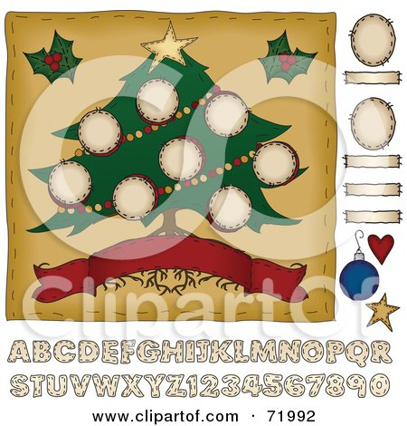 Royalty-Free (RF) Clipart Illustration of a Wide Christmas Tree With Roots Over A Banner, With Other Elements by inkgraphics