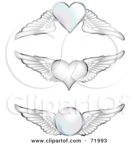 Royalty-Free (RF) Clipart Illustration of a Digital Collage Of Silver Wings With Hearts And Orbs by inkgraphics