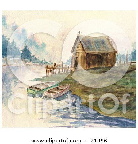Royalty-Free (RF) Clipart Illustration of a Watercolor Background Of Two Boats Near A Cabin On A Bay by inkgraphics
