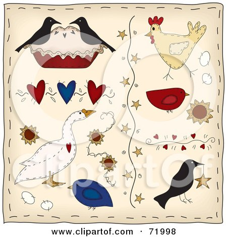 Royalty-Free (RF) Clipart Illustration of a Digital Collage Of Folk Birds, Hearts, Stars And Flowers by inkgraphics