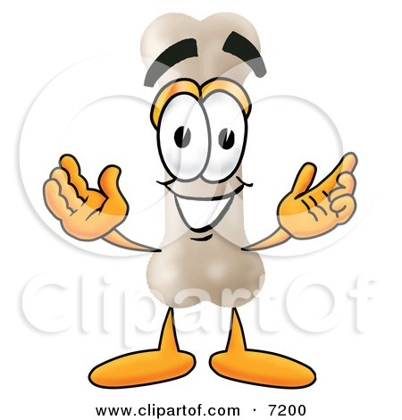 Clipart Picture of a Bone Mascot Cartoon Character With Welcoming Open Arms by Toons4Biz