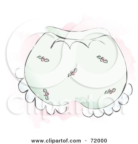 Royalty-Free (RF) Clipart Illustration of a Pair Of Pink Rose Baby Bloomers by inkgraphics