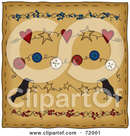 Royalty-Free (RF) Clipart Illustration of a Brown Folk Background With Berry, Star, Button And Heart Dividers With Crows by inkgraphics