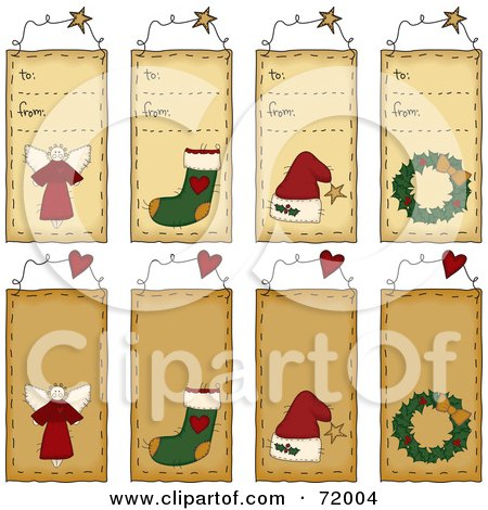 Royalty-Free (RF) Clipart Illustration of a Digital Collage Of To From Christmas Folk Tags by inkgraphics