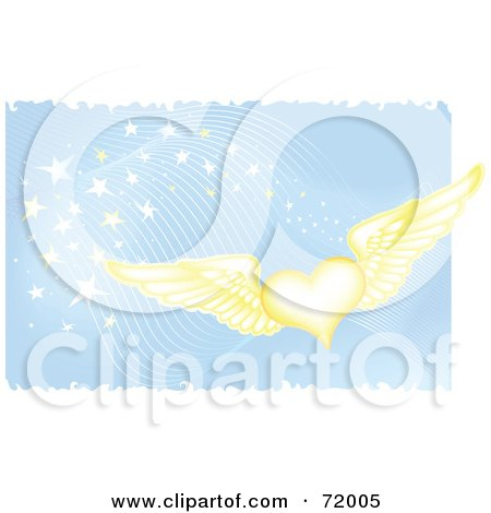 Royalty-Free (RF) Clipart Illustration of a Golden Winged Hearts On A Blue Magical Background by inkgraphics