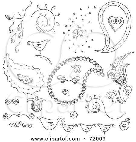 Royalty-Free (RF) Clipart Illustration of a Digital Collage Of Black And White Bird, Weather And Paisley Doodles by inkgraphics