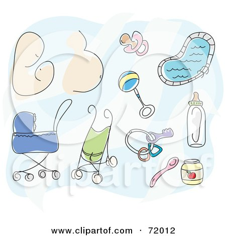 Royalty-Free (RF) Clipart Illustration of a Digital Collage Of A Mother, Pregnant Belly, Baby Toys, Pacifier, Strollers, Food And Bottle by inkgraphics