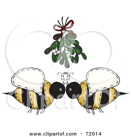 Royalty-Free (RF) Clipart Illustration of a Folk Art Bee Couple Under Mistletoe by inkgraphics