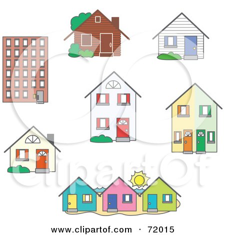 Royalty-Free (RF) Clipart Illustration of a Digital Collage Of Real Estate Buildings And Homes by inkgraphics