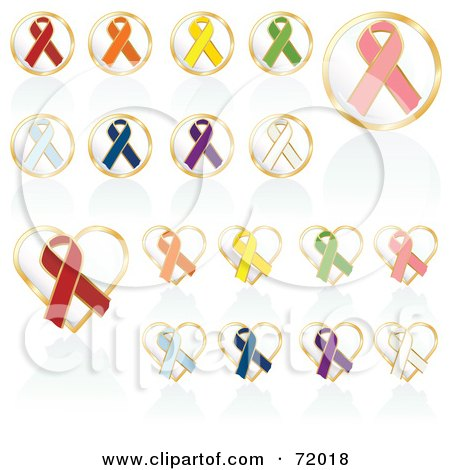 Royalty-Free (RF) Clipart Illustration of a Digital Collage Of Round And Heart Shaped Awareness Ribbon Buttons by inkgraphics