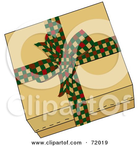 Royalty-Free (RF) Clipart Illustration of a Brown Gift Box Sealed With A Festive Checkered Bow by inkgraphics