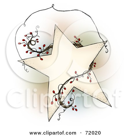 Royalty-Free (RF) Clipart Illustration of a Folk Star With Berry Vines And Wire - Version 2 by inkgraphics