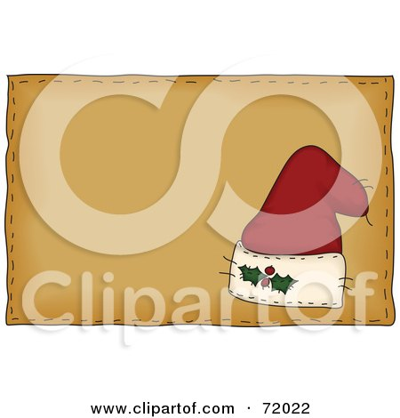 Royalty-Free (RF) Clipart Illustration of a Folk Styled Santa Hat On A Brown Background by inkgraphics