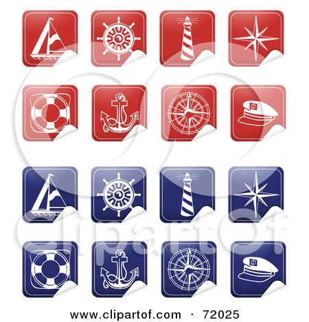 Royalty-Free (RF) Clipart Illustration of a Digital Collage Of Peeling Nautical Stickers by inkgraphics