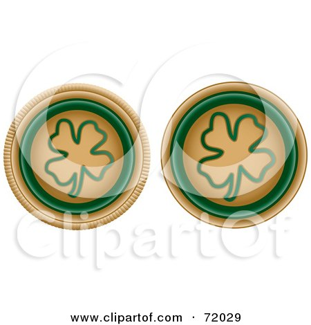 Royalty-Free (RF) Clipart Illustration of a Digital Collage Of Two Beige And Green Clover Buttons by inkgraphics