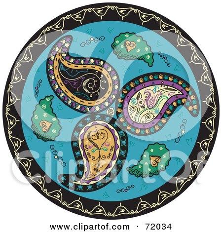 Royalty-Free (RF) Clipart Illustration of a Blue Circle Paisley Mandala by inkgraphics