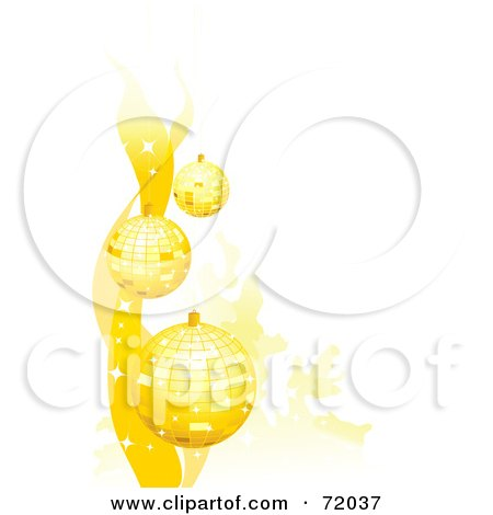 Royalty-Free (RF) Clipart Illustration of a Background Of Golden Sparkly Christmas Baubles Over White by inkgraphics