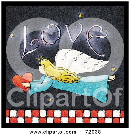 Royalty-Free (RF) Clipart Illustration of a Love Angel Flying With A Heart Over Red And White Checkers by inkgraphics