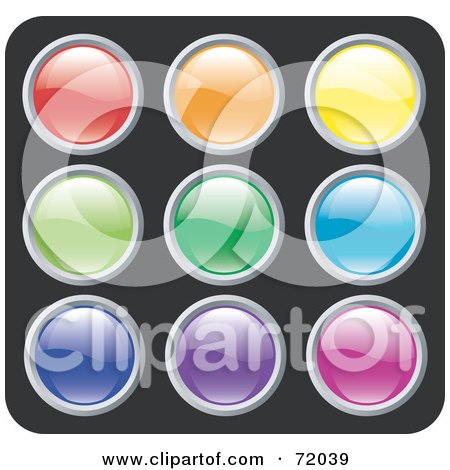 Royalty-Free (RF) Clipart Illustration of a Digital Collage Of Colorful Shiny Rounded Site Icon Buttons - Version 2 by inkgraphics