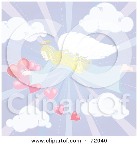 Royalty-Free (RF) Clipart Illustration of a Pastel Angel Flying In A Cloudy Sky With Hearts by inkgraphics