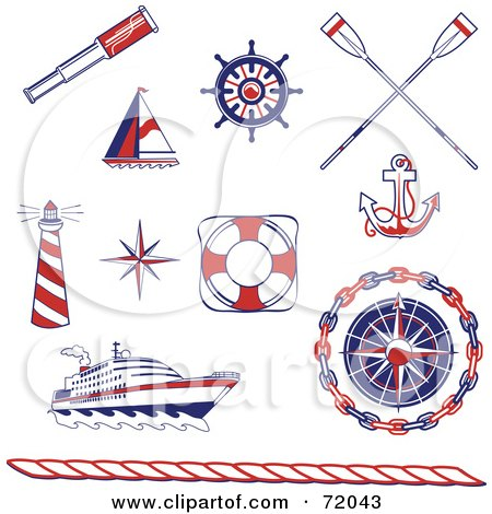 Royalty-Free (RF) Clipart Illustration of a Digital Collage Of Red, Blue And White Nautical Icons by inkgraphics