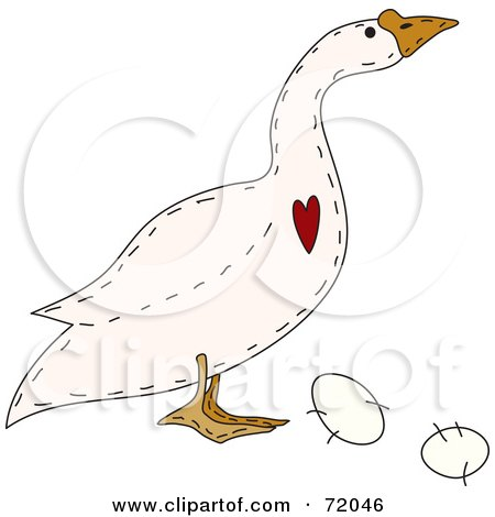 Royalty-Free (RF) Clipart Illustration of a Folk Art Goose With A Heart And Eggs by inkgraphics
