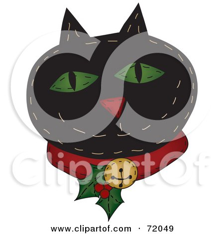 Royalty-Free (RF) Clipart Illustration of a Black Happy Christmas Cat Wearing A Holly Collar by inkgraphics