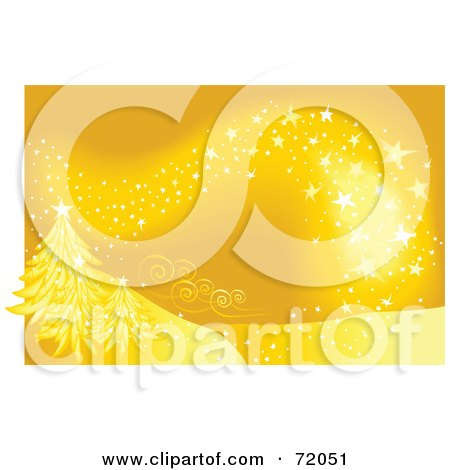 Royalty-Free (RF) Clipart Illustration of a Golden Magical Christmas Background With Trees by inkgraphics