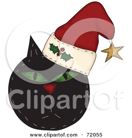 Royalty-Free (RF) Clipart Illustration of a Black Grumpy Christmas Cat Wearing A Santa Hat by inkgraphics