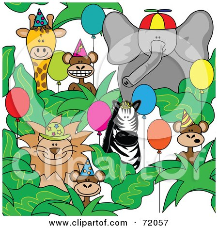 Royalty-Free (RF) Clipart Illustration of a Group Of Party Animals With Hats And Balloons by inkgraphics