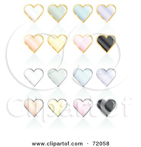 Royalty-Free (RF) Clipart Illustration of a Digital Collage Of Pastel Pearly Heart Icons With Reflections by inkgraphics