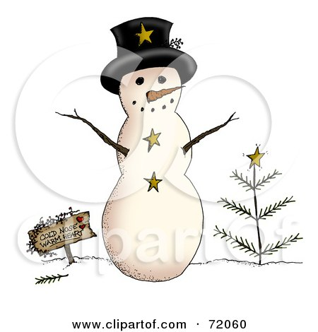 Royalty-Free (RF) Clipart Illustration of a Rounded Snowman With A Sign And Tree by inkgraphics