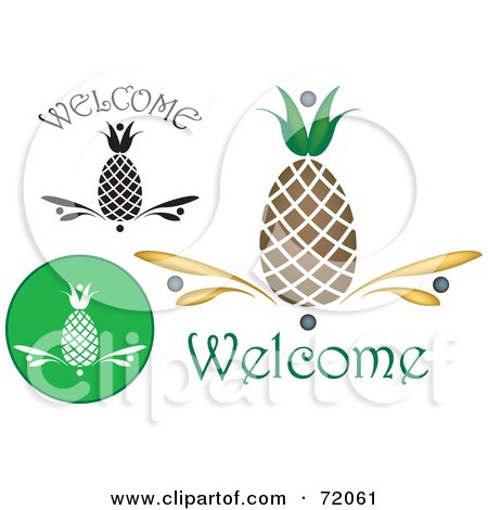 Royalty-Free (RF) Clipart Illustration of a Digital Collage Of Welcome Pineapples by inkgraphics