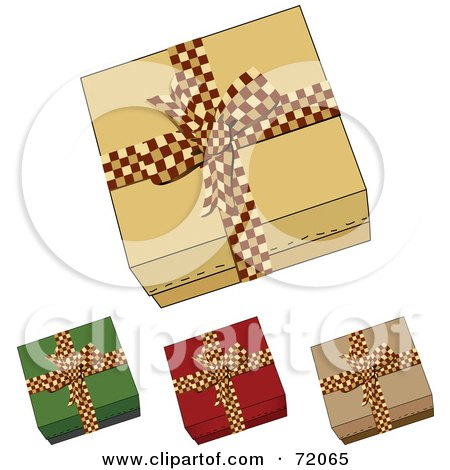 Royalty-Free (RF) Clipart Illustration of a Digital Collage Of Four Gift Boxes With Checkered Red Bows by inkgraphics