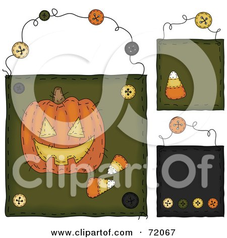 Royalty-Free (RF) Clipart Illustration of a Digital Collage Of Hanging Pumpkin And Candy Corn Door Signs by inkgraphics